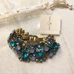 Blue Crystal Wide Statement Bracelet Cuff